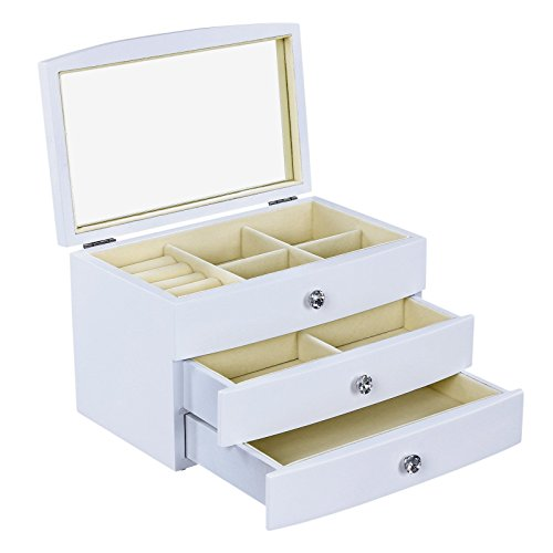 SONGMICS Girls Jewelry Box Wooden Case 3 Layer Organizer with Large Mirror White UJOW03W