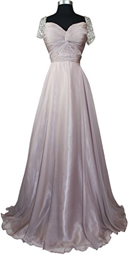 Meier Women's Beaded Short Sleeve Pleated Mother of Bride Evening Prom Dress M10 Mauve 16