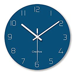 FlorLife 12 Inch Large Wall Decorative Clock Living Room Modern Clock, Quartz Analog Movement Silent Non Ticking Round Digital Glass Wall Clock Battery Operated - Blue