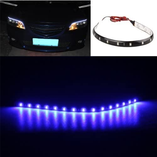 4x coche 30 CM 15 LED cadenas de luces azul resistentes al agua 12 V