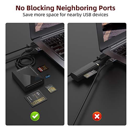 SD Card Reader, Tewmsc USB C Multi Card Reader Hub 5Gbps Read 4 Cards Simultaneously CF, CFI, TF, SDXC, SDHC, SD, MMC, Micro SDXC, Micro SD, Micro SDHC, MS, UHS-I USB Type C Memory Card Reader-3Ft