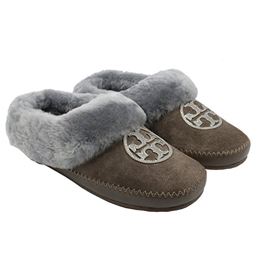 Tory Burch Coley Slipper Split Suede Fur Flat Shoes Sneakers (9) Elephant - Flats Australia Burch Tory