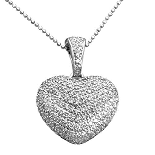 Aienid 1.00 Carat 14K White Gold Pave Diamond Puffed Heart Pendant Necklace for Women 18 Inch