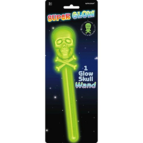 Family Friendly Halloween Trick or Treat Super Glow Skull Wand Party Favour, Plastic , 10