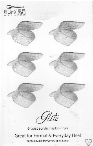 Set of 6 Twist Acrylic (Silver Glitz) Napkin Rings
