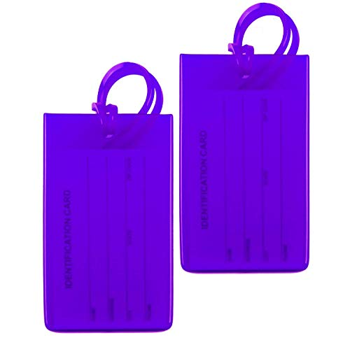 4 Packs Colorful Flexible Travel Luggage Tags for Baggage Bags/Suitcases - Name ID Labels Set for Travel - Light Purple
