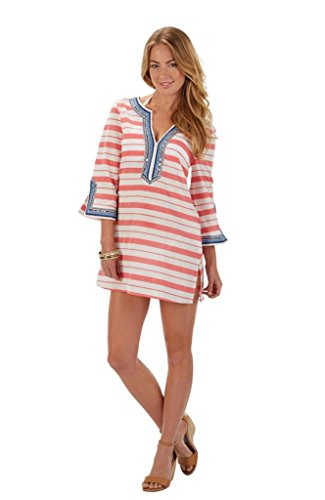 808f84404 Mud Pie Women Wellington Embroidered Cotton Cover-up Top Shift Tunic Coral