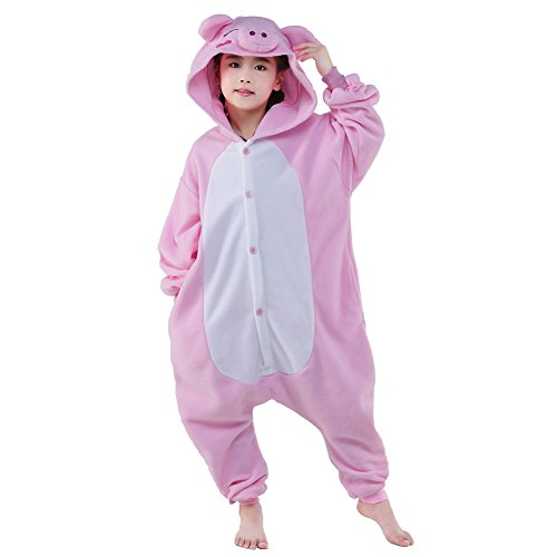 [NEWCOSPLAY Children Pink pig Fleece Pajamas Cartoon Costume (105, Pink pig)] (Unisex Halloween Costumes)