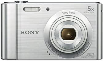 Sony DSC-W800 20.1 MP Point and Shoot Digital Camera (Silver) with 5x optical zoom, Memory Card, Camera Case