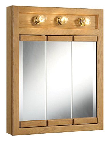 Design House 530592 24-Inch by 30-Inch Richland Ready-To-Assemble 3 Light Tri-View Wall Cabinet, Nutmeg Oak -