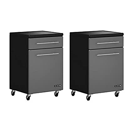 Home Square 2 Piece Garage Storage Set With 2 Rolling Cabinets In Graphite  Grey And Black