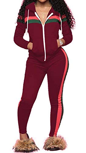 TOP-MAX Women 2 Pieces Tracksuit Ladies Zipper Playsuits Sportswear Strip Hooded Zip up Sweatshirt Hoodies + Pants Trousers - Hoody Sweatshirt Ladies Pullover
