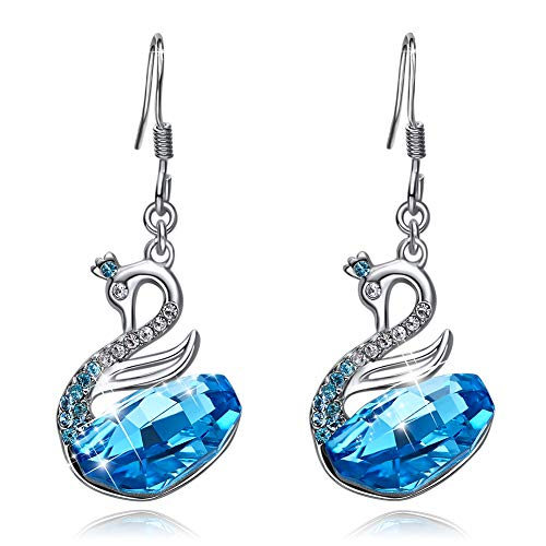 CDE Swan Earring for Women White Gold Plated Blue Sapphire Embellished with Crystals from Swarovski Fine Dangle Earrings Hypoallergenic Animal Designed Gift for Mothers Day (Sapphire Dangling Cut Earrings)