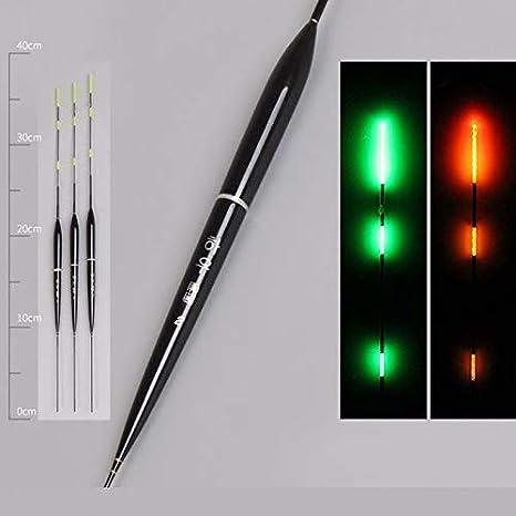 Syfinee 3Pcs Inteligente Flotador de Pesca Luz LED Luminoso de Noche Flotadores Gravedad Autom/áticamente Recordatorio Negro