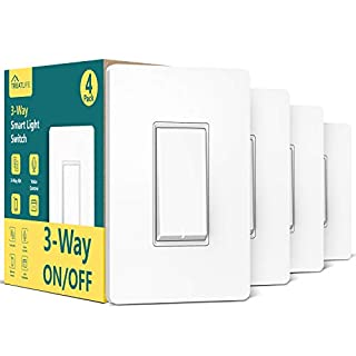 3-Way Smart Switch (Neutral Wire Required), Treatlife 2.4Ghz WiFi Light Switch 3-Way Switch Compatible with Alexa and Google Assistant, Remote Control, ETL, Schedule, FCC Certified(4 Pack)