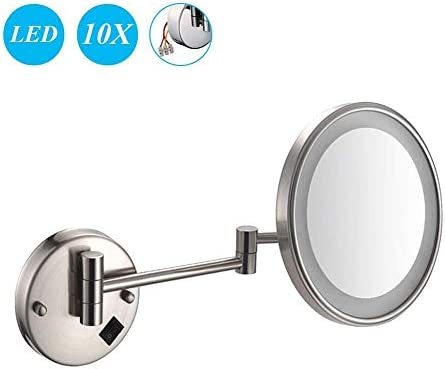 Ly88 Makeup Mirror 10x Magnification Wall Mounted Mirrors Makeup Shaving Mirror Led Lighted Bathroom Mirror Conceal Install For Hotel Vanity With Adjustable Extendable 8 Inch Amazon Ae