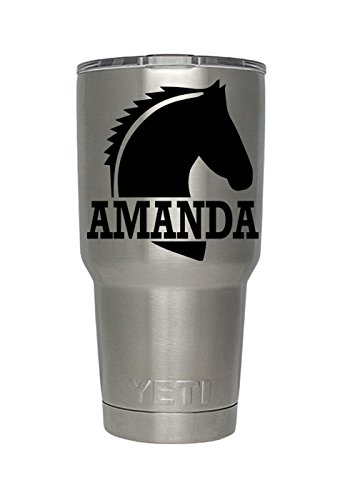 Yeti Horse Name decal for yeti,rtic, ozark tumblers, laptops, car decals, automobiles, macs, smooth surface