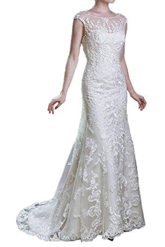 Victory Bridal Hochwertig Elfenbein Spitze Kurzarm Hochzeitskleider Brautkleider Brautmode Lang mit Schleppe