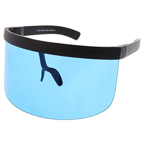sunglassLA - Futuristic Oversize Shield Visor Sunglasses With Flat Top Colored Mono Lens 172mm - Sunglasses Design Optics