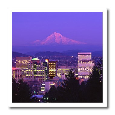 (3dRose ht_93476_3 USA, Oregon, Portland. City Skyline and Mt. Hood-Jaynes Gallery-Iron on Heat Transfer for White Material, 10 by 10-Inch )