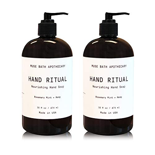(Muse Bath Apothecary Hand Ritual - Aromatic and Nourishing Hand Soap, 16 oz, Infused with Natural Essential Oils - Rosemary Mint + Hemp, 2 Pack )