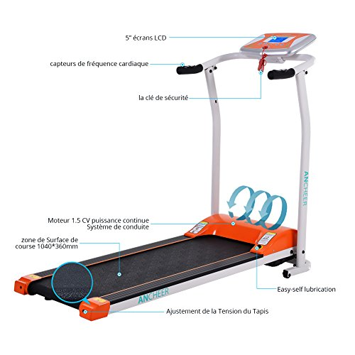 ANCHEER Folding Electric Treadmill, 502 Easy Assembly Motorized Running Machine with Rolling Wheels