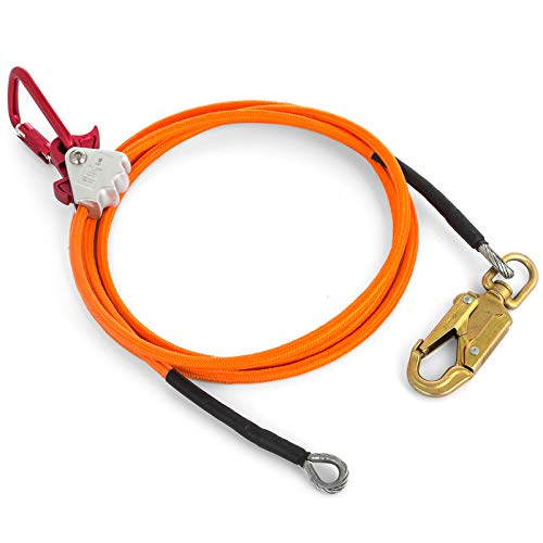Happybuy Steel Wire Core Flip Line Kit 1/2'' X 12' Wire Core Flipline with Triple Lock Carabiner and Steel Swivel Snap Wire Core Flipline System for Arborists Climbers Tree Climbers (1/2'' X 12') by Happybuy (Image #2)