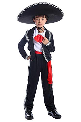 CosSail Kids Mexican Mariachi Costume Sombrero Mexican Senor Outfit -