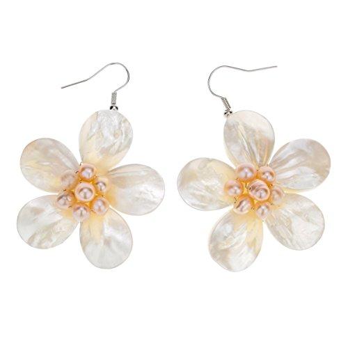 Szxc Jewelry Women's Pearl Shell Plumeria Dangle Earrings (Shell Plumeria)