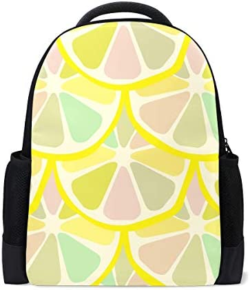 TFONE Summer Fruit Lemon Print Backpack Bookbag Lightweight Hiking Camping Daypack Casual Bags for Women Men Unisex