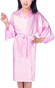 Admireme Kids' Satin Kimono Robe Bathrobe Silk Nightgown for Spa Party Wedding Birt