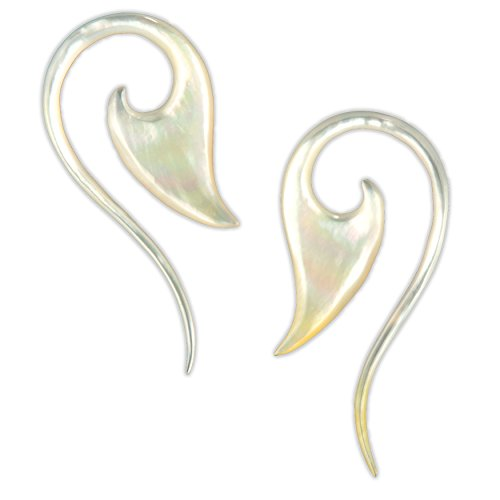 12G Pair Mother of Pearl Blade Tail Spiral Gauged Earring...