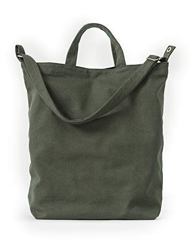 BAGGU Duck Bag Canvas Tote, Essential Everyday Tote, Spacious and Roomy, Dark ()