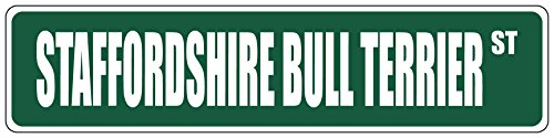 (Aluminum Metal Street Sign Streets Staffordshire Bull Terrier Green 18