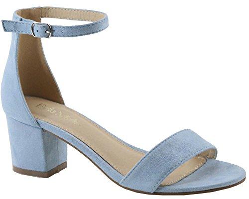 Sandal Block Blue Marie Open Toe Women's Strappy Heel Bella Imsu Light w0zpqX7
