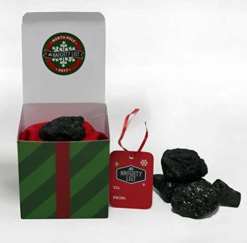 Naughty List Lump of Coal Christmas Holiday Stocking Stuffer Gift from Santa - Traditional Lump (Red, Green)