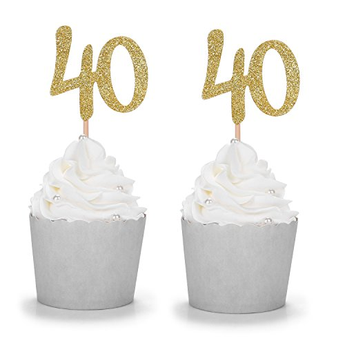 Gold Glitter Number 40 Cupcake Toppers Handcrafted 40th Birthday Celebrating Decors