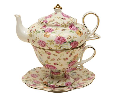 Gracie China by Coastline Imports 4-Piece Porcelain Tea for One, Stacked Teapot Cup Saucer, Cream Cottage Rose Chintz (1 Imports)