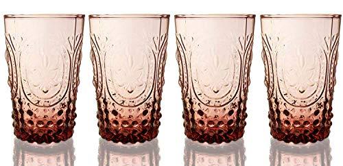 Fleur De Lis Amber 4-Piece Juice Glassware Set, 10 - Pattern Vintage Glass