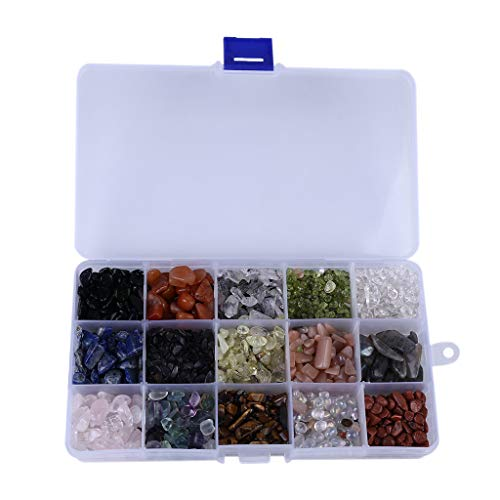 - Glumes 15 Sets Crystal Stones Tumbled Polished Stone with Storage Case,for Jewelry Making Supply for DIY Beading Projects, Bracelets, Necklaces, Earrings & Other Jewelries