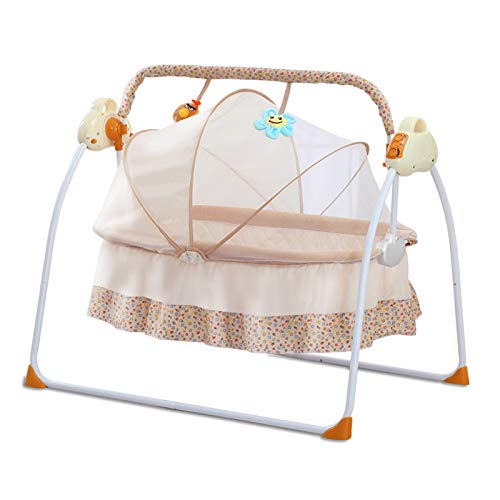 AIRNOK Baby Cradle Swing Electric for Infants Indoor&Outdoor Outside with Dolls Cradle for Automatic Baby Basket Electric Rocking Multi-Function Baby Swing Cradle Bed with Music (Yellow)