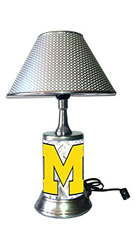 Rico Table Lamp with chrome shade, Michigan Wolverines plate rolled in on the lamp base, base wrapped with diamond metal plate ()