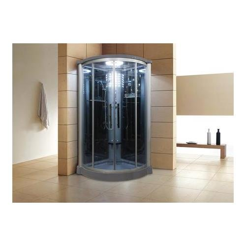 Eagle Bath WS801L 42'' Eagle Bath WS-801L Steam Shower Enclosure Unit with 6 mm Tempered Blue Glass Temperature Sensor Storage Shelves Fold-up Seats and Amazon Rainfall Ceiling Shower in by Eagle Bath