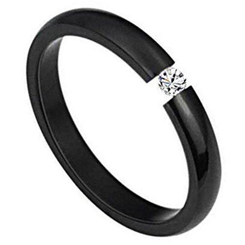 Women's Promising Rings Jewelry Stainless Steel Thin Wedding Bands Embedded CZ Black Size 7
