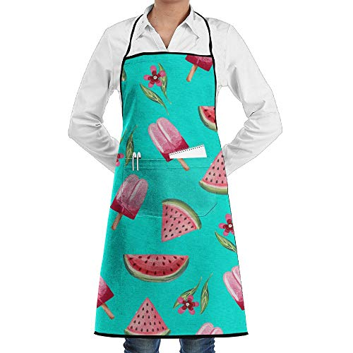LOGENLIKE Watermelon Ice Cream Kitchen Aprons, Adjustable Classic Barbecue Apron Baker Restaurant Black Bib Apron With Pockets For Men And Women