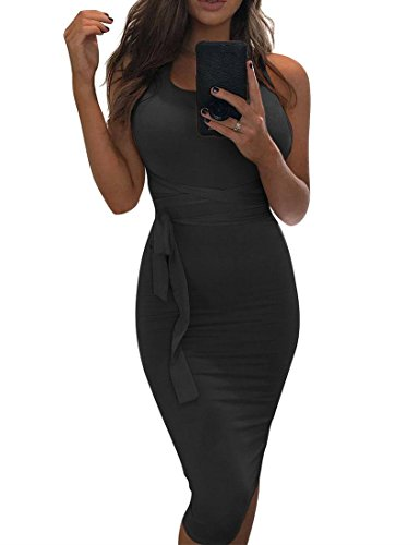 MIZOCI Womens Sexy Sleeveless Bodycon Tank Dress Backless Basic Midi Club Dresses
