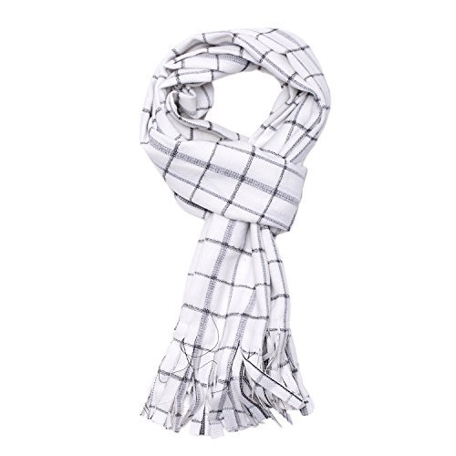 Cosplay Costume Anime Fairy Tail Natsu Dragneel White Checks Tassel Scarf -