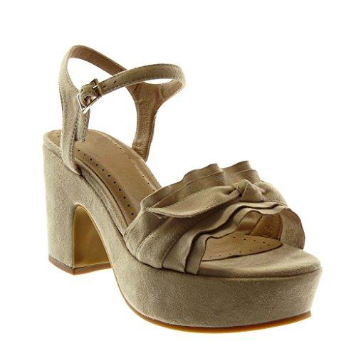 Angkorly Women's Fashion Shoes Sandals Pump Court Shoes - Ankle Strap - Platform - Ruffle - Knot - Node - Buckle Block High Heel 8.5 cm Beige