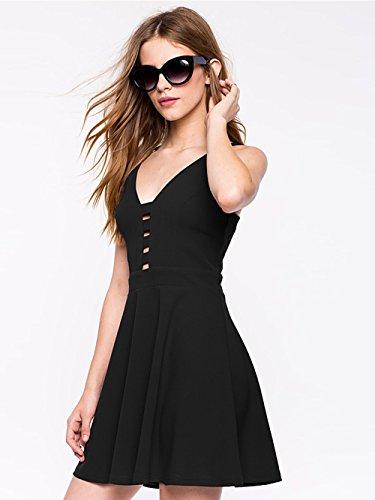Jollychic Damen A-Linie Kleid schwarz schwarz