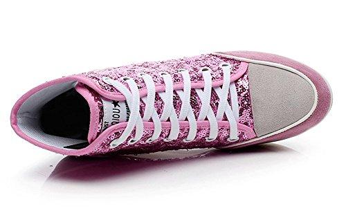 Toile Femme Paillette Baskets Tennis Compensées Chaussures Mode Rouge Casuel Sneakers xUFZqw